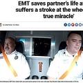救急救命士(左)が勤務中、同僚(右)に命を救われる(画像は『Fox News 2018年12月1日付「EMT saves partner's life after he suffers a stroke at the wheel: 'It's a true miracle'」(FOX 61)』のスクリーンショット)