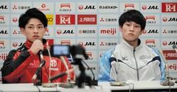 初めて兄弟で臨む世界選手権に向けて意気込む谷川翔(左)と、谷川航(右)=武蔵野の森総合スポーツプラザ