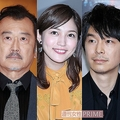 (写真左から)吉田鋼太郎、川口春奈、長谷川博己、本木雅弘