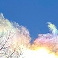 長野の空にパステルの「彩雲」