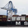 米東部ペンシルベニア州フィラデルフィアの港湾施設パッカー・マリンターミナルで、当局が16トン余りのコカインを押収した貨物船MSCガイアンの積み荷を降ろすクレーン(2019年6月18日撮影)。(c)DOMINICK REUTER / AFP
