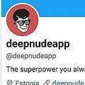 女性の写真を裸にするアプリ「DeepNude」の公式ツイッターアカウントとロゴ(2019年6月28日撮影)。(c)AFP=時事/AFPBB News