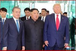 板門店の韓国側地域で対面した金正恩氏とトランプ氏、文在寅氏(2019年7月1日付朝鮮中央通信)
