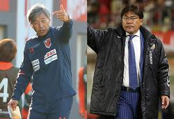 名良橋氏は大宮の高木監督(左)、長�の手倉森監督(右)の手腕を評価し、2チームを自動昇格圏に予想した。(C)SOCCER DIGEST