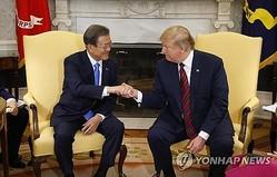 握手を交わす文大統領(左)と文大統領=11日、ワシントン(聯合ニュース)