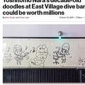奈良美智氏によるバーの壁の落書き(画像は『New York Post 2019年10月10日付「Yoshitomo Nara's decade-old doodles at East Village dive bar could be worth millions」(William Farrington)』のスクリーンショット)