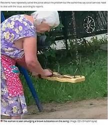 ブランコに便を塗る高齢女性(画像は『Mirror 2020年7月6日付「Woman, 90, caught smearing 'poo' on children's swings in bizarre protest」(Image: CEN/@mashmoyka)』のスクリーンショット)