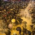 香港・九龍地区のホンハムにある香港理工大学に行進中、警官隊の発射した催涙弾を浴びるデモ隊(2019年11月18日撮影)。(c)DALE DE LA REY / AFP
