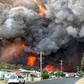 豪東部ハリントンの住宅街に迫る炎。ケリーアン・オースタービーク氏提供(2019年11月8日撮影、入手)。(c)AFP PHOTO / KELLY-ANN OOSTERBEEK