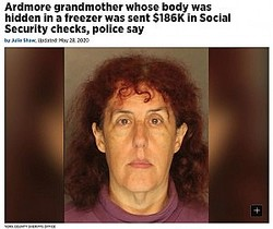 祖母の遺体を冷凍庫に隠していた孫娘(画像は『The Philadelphia Inquirer 2020年5月28日付「Ardmore grandmother whose body was hidden in a freezer was sent $186K in Social Security checks, police say」(YORK COUNTY SHERIFFS OFFICE)』のスクリーンショット)