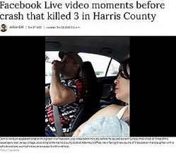 ライブ配信されていた飲酒運転の様子(画像は『Houston Chronicle 2020年10月28日付「Suspect seen drinking beer on Facebook Live video moments before crash that killed 3 in Harris County」(Photo: Facebook)』のスクリーンショット)