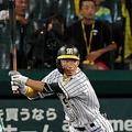 8回、ヤクルト・平井諒(手前)から適時二塁打を放つ阪神・鳥谷敬=甲子園(撮影・高部洋祐)