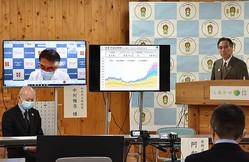 医療関係者と共同記者会見に臨む阿部守一長野県知事(右)=県庁で2021年1月14日午後5時9分、島袋太輔撮影