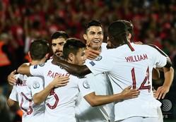 サッカー欧州選手権、予選グループB、リトアニア対ポルトガル。ゴールを喜ぶポルトガルの選手(2019年9月10日撮影)。(c)Petras Malukas / AFP