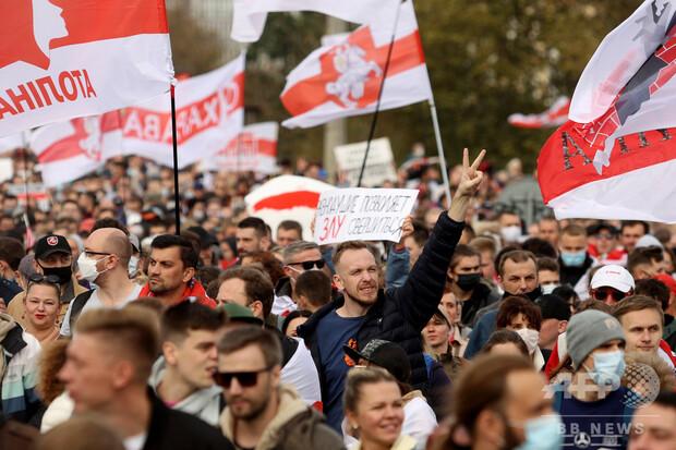 画像】拘束中の反政権派活動家の解放要求、ベラルーシで大規模デモ ...