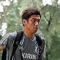 9月8日は試合会場で練習を行なった日本代表。大迫はピッチの状況などを説明した。写真:金子拓弥(サッカーダイジェスト写真部)