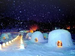 雪深い冬限定の特別なかまくらのレストランが出現する!