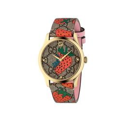 """グッチ「G-タイムレス」新作腕時計、ストロベリー&""""4匹の猫""""を配したプレイフルなウォッチ"""
