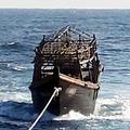 韓国海軍が8日、東海上で北朝鮮側に引き渡すため、2人が乗っていた漁船をえい航している(統一部提供)=(聯合ニュース)≪転載・転用禁止≫