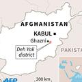 アフガニスタン東部ガズニ州で起きた米軍機墜落の場所を示した図。(c)VINCENT LEFAI, KUN TIAN / AFP