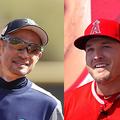 現役を引退したイチロー(左)とエンゼルスのマイク・トラウト【写真:田口有史、Getty Images】