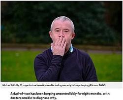 約8分おきにげっぷが出てしまう61歳の男性(画像は『Metro 2021年2月14日付「Dad's mystery illness has left him burping every few minutes for eight months」(Picture: SWNS)』のスクリーンショット)