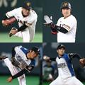 トレードが決まった(左上から時計回り)巨人の吉川光夫投手、宇佐見真吾捕手、日本ハムの鍵谷陽平投手、藤岡貴裕投手