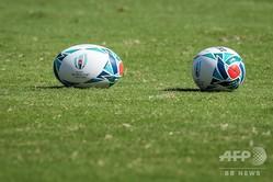 ラグビーW杯日本大会の公式球(2019年9月17日撮影、資料写真)。(c)Odd ANDERSEN / AFP