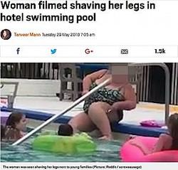 プールで脚のムダ毛を剃る女性(画像は『Metro 2018年5月29日付「Woman filmed shaving her legs in hotel swimming pool」(Picture: Reddit / screwsausage)』のスクリーンショット)