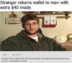 失くした財布が手元に戻った男性、財布の中を見て驚くことに(画像は『ABC7 News 2018年11月25日付「Stranger returns wallet to man with extra $40 inside」』のスクリーンショット)