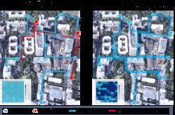 システムのを使ったときと(右側)、人が判断したときの配送ルートの違い。赤色が不在配達だったルートで、システムを使うと、再配送がなくなる結果に(日本データサイエンス研究所の発表資料より)