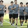 オマーン戦に向けてトレーニングを行なった日本代表。そこに大迫の姿はなかった。写真:茂木あきら(サッカーダイジェスト写真部)