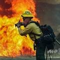 米カリフォルニア州ジャマルで、山火事の消火活動に当たる消防隊員(2020年9月6日撮影、資料写真)。(c)SANDY HUFFAKER / AFP