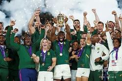 ラグビーW杯日本大会を制した南アフリカの選手(2019年11月2日撮影)。(c)Odd ANDERSEN / AFP