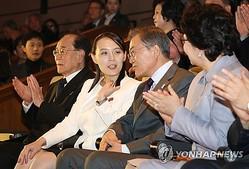 文大統領(右)と会話する金与正氏=11日、ソウル(聯合ニュース)