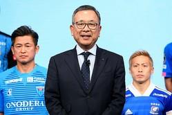 村井チェアマンが会見で、4月3日以降の延期や無観客試合にも言及した。写真:金子拓弥(サッカーダイジェスト写真部)