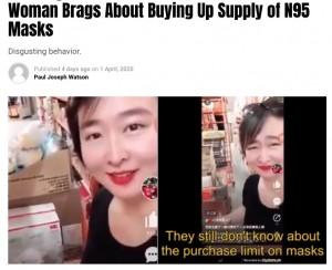 マスクの買い占めをする中国人女性(画像は『Summit News 2020年4月1日付「'Nothing Left For the Americans': Chinese Woman Brags About Buying Up Supply of N95 Masks」』のスクリーンショット)