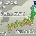 関東各地で気温が上昇し栃木県は20℃ 東京は4月中旬並みの陽気に
