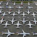 米ワシントン州シアトルの空港に隣接する区画に集められた米航空機大手ボーイングの737MAX型機(2019年6月27日撮影)。(c)STEPHEN BRASHEAR / GETTY IMAGES NORTH AMERICA / AFP